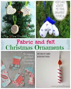 4 great fabric and felt Christmas Tree Ornament tutorials
