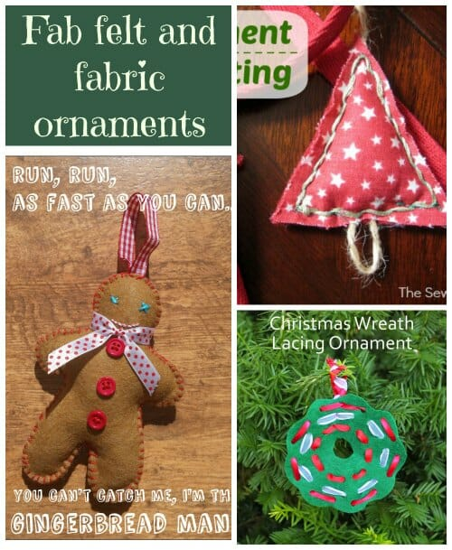 3 fab felt and fabric Christmas ornaments to sew.