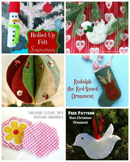 6 fab felt and fabric Christmas ornaments to sew.