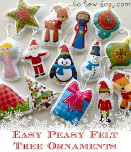 Genius idea for how to make quick and easy felt ornaments for the tree. These come in 2 sizes, mini and regular. Great for kids.
