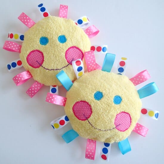 Easy and quick to make terry and ribbon baby toy. Could use an old ...