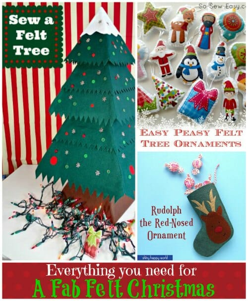 Everything you need for a fab felt Christmas. Felt Christmas Tree and lots of links to ornament tutorials.