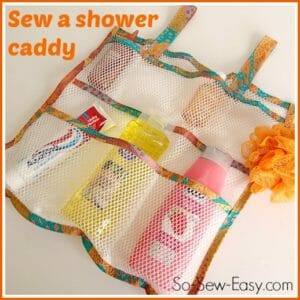 Use mesh fabric to sew this shower caddy or organiser