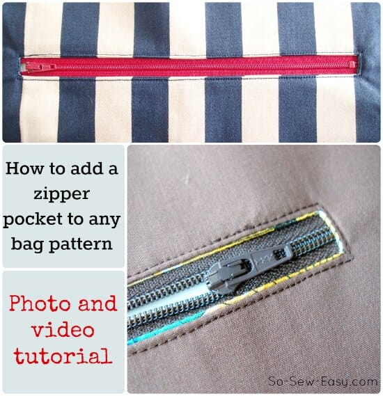 How to add a zipper pocket to any purse pattern - So Sew Easy