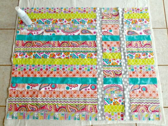 My first quilt - a jelly roll quilt for baby - a work in progress.