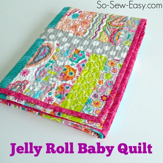 Beginner quilt - my first ever quilt. A jelly roll baby quilt.