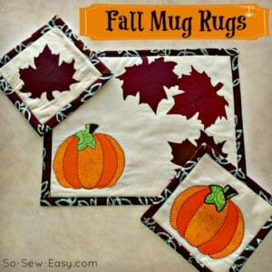 Fall mug rug pattern. I love these easy applique ideas for seasonal home decor.