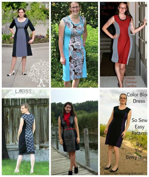 Color block dress from So Sew Easy, love every version.