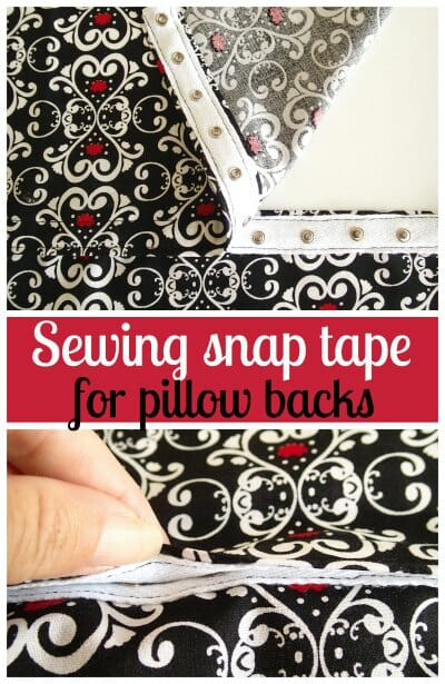 How to sew snap tape to make a pillow back so you can remove the cover for washing.