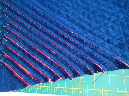 Faux chenille baby blanket.  Cutting through the flannel