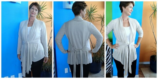 Love this really unusual pattern for a draped front cardigan, for stretch fabrics. PDF pattern.