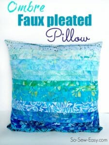 Faux pleated pillow. Looks difficult, but this is actually easy to do. Looks good in solids too.