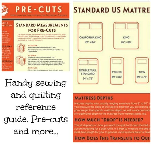 Handy guide to sizes for popular pre-cut fabrics, plus standard mattress and quilt sizes.