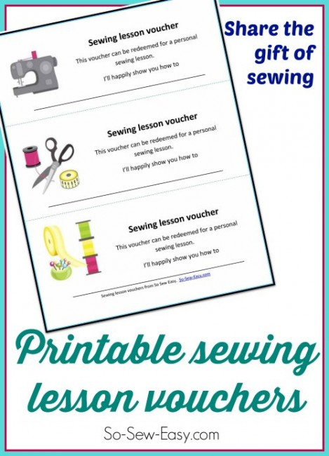 Printable sewing lesson vouchers.  Give someone the gift of your time and experience.  Fun idea for the holidays.