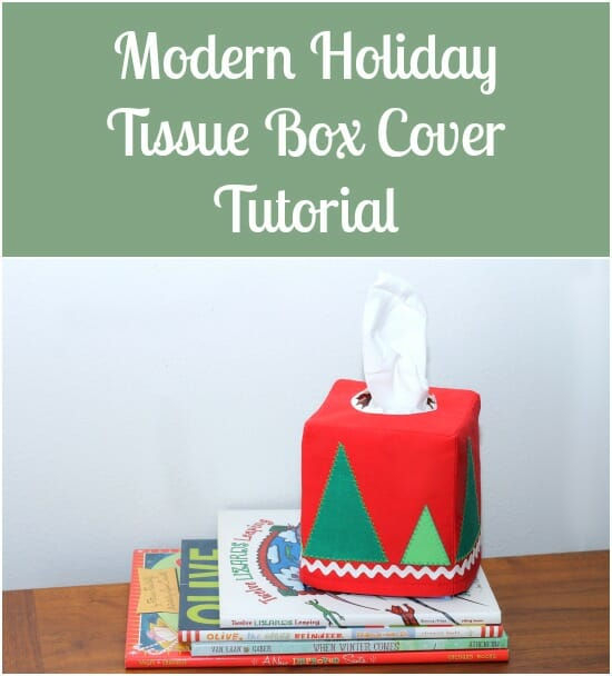 Modern Christmas Tissue Box Cover.  Simple trees and snow - nothing too kitchsy