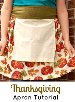 An easy Thanksgiving apron, with a built in towel for wiping your hands. Would be pretty in a gingham!