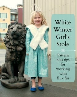 White Winter Girl's Stole and Tips for Working with Faux Fur {{Friends Stitched Together for So Sew Easy}}