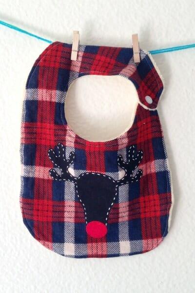 Christmas Baby Bib - Reindeer front