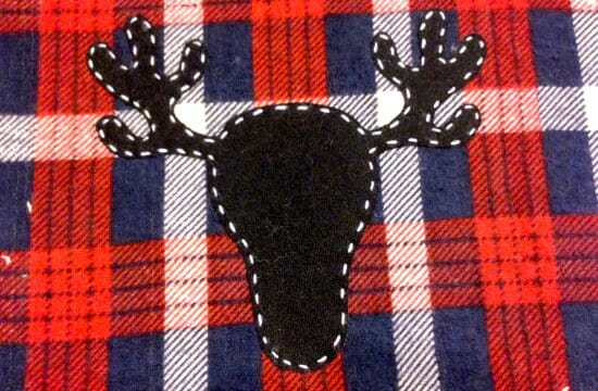 Christmas Baby Bib - reindeer stitch