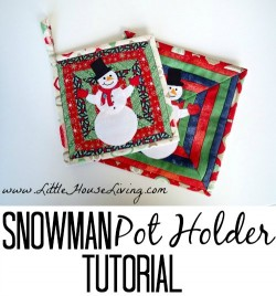 Fun snowman pot holder. I love how easy this background is to make - looks much more complicated than it is.