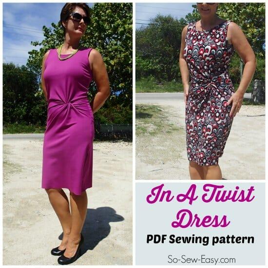 Twist Front Dress Pattern Potm So Sew Easy