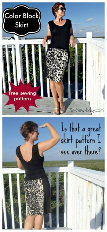 Free skirt pattern. Love this color block skirt with the fade away panels on the side that make me look instantly slimmer!