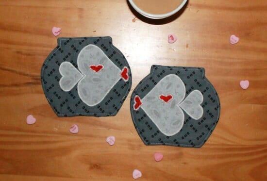 valentines mug rug
