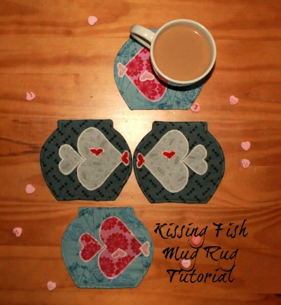 """Kissing Fish Mug Rug Tutorial"" Free Pattern designed by Amy from Friends Stitched Together brought to you by So-Sew-Easy"