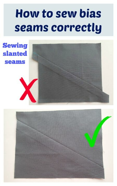 How to sew bias and slanted seams so that your edges line up properly.  I had no idea about this until I saw it laid out so clearly.