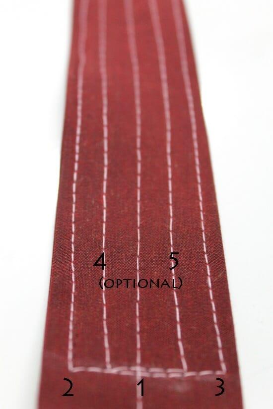 Serger Pepper - Padded Laptop Bag Tutorial - topstitch strap between 40 cm marks