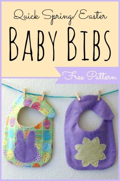 So adorable!  Pattern and tutorial for these Spring or Easter Baby Bibs.