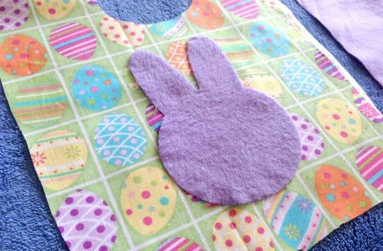 Easter Spring Baby Bib - bunny applique