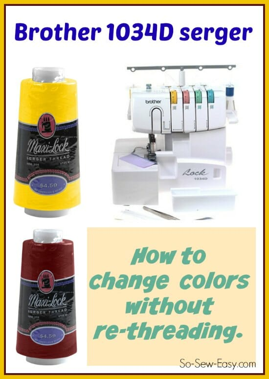 Step by step in close up video on how to change our your colors without rethreading for the Brother 1034D serger