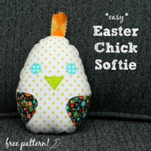 So cute and ideal for a toddler easter egg hunt or a cute baby toy. Quick enough to run up a whole bunch of these easy Easter chick softies.