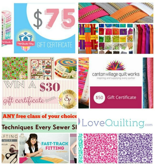 Big fabric, gift certificates, patterns and zippers giveaway on So Sew Easy. Ends 12th April 2015.