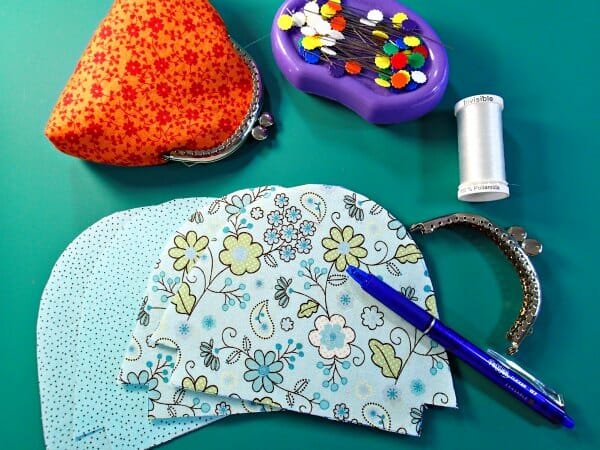 Materials needed to sew a coin purse