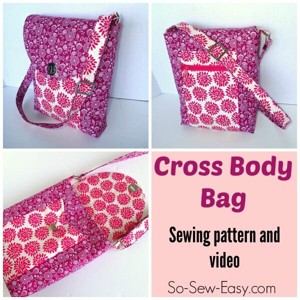 Just what I've been looking for.  A cross-body bag sewing pattern with lots of pockets inside and out and lots of options.
