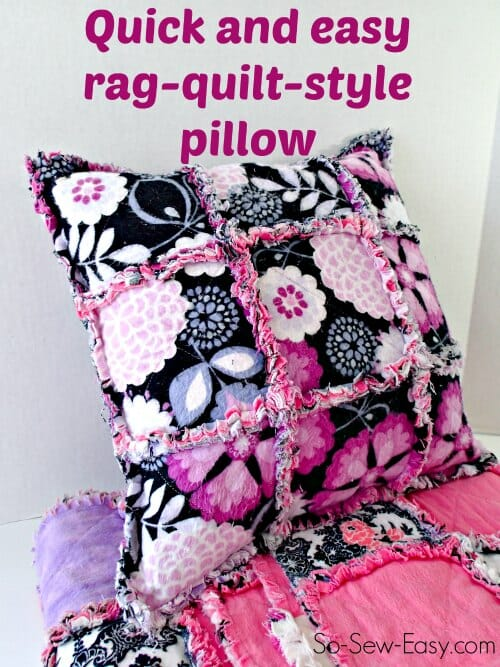 I knocked this up in just a few minutes.  Fun and easy to sew rag quilt pillow.