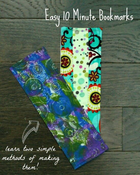 Two ways to use your fabric scraps to make simple fabric bookmarks.