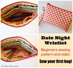 Love this pattern for beginners. Simple wristlet purse with a few nice features such as a padded pocket and a place for cards too.