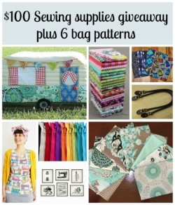 Giveaway for $100 gift cert to spend on sewing supplies and 6 bag patterns.