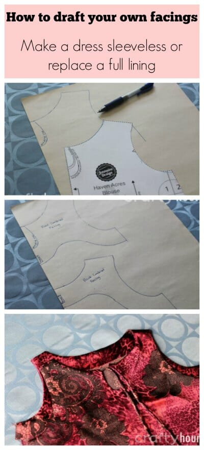 This shows you how to create your own one or two piece facings.  How to make a sleeved dress sleeveless or how to make a facing intead of a lining.