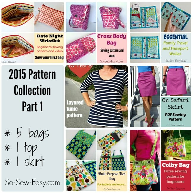2015 Pattern Collection Bundle Part 1 - 7 sewing patterns, 5 bags, 1 top and 1 skirt