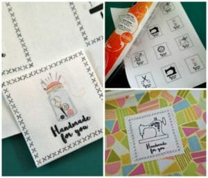 Printable sheet of 'handmade' labels. Print on fabric at home to create your own deisgner sewing labels.