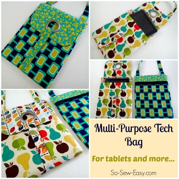 Love this tablet bag pattern..  Nice and padded, separate pocket for the tablet, stylish, and a big zipper pocket in back for charger, wallet, etc.  This is going everywhere with me!