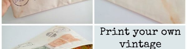 Wow, I love this idea. How to print your own fabric in any design you like and great a roject with it. These vintage envelope bags look great!