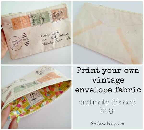 Wow, I love this idea.  How to print your own fabric in any design you like and create a project with it.  These vintage envelope bags look great!
