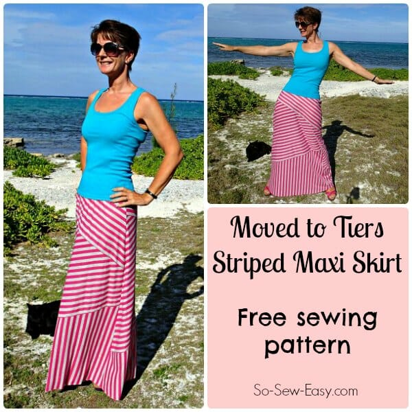 Free sewing pattern for this diagonal striped maxi skirt.  Of course it doesn't have to be striped but it looks great either way!