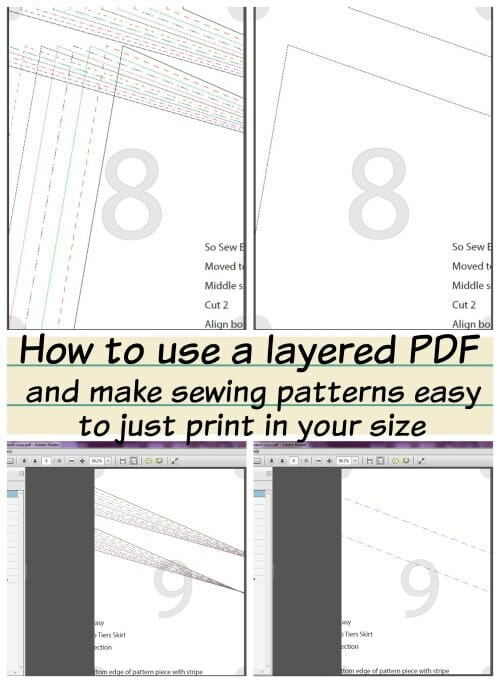 I'm going to save so much ink and paper now I know how to use a layered PDF sewing pattern and just print the size I want.