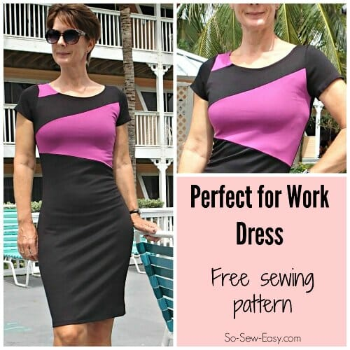 Just what I've been looking for. Free pattern for a work dress that looks smart but fun.